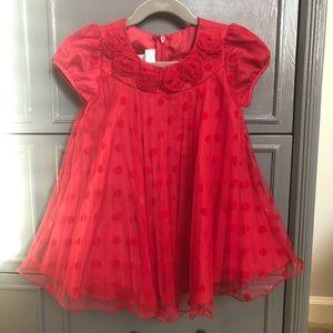 Red rosette little girls holiday dress